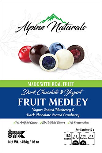 Alpine Naturals Fruit Medley Dark Chocolate Cranberries & Yogurt Blueberries, 16 Ounce (Blueberry Yogurt Covered Raisins)