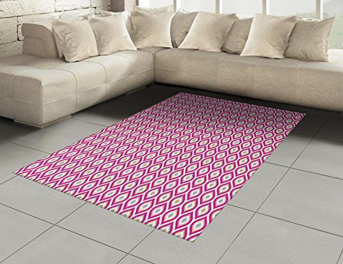 Amazon.com: Abstract Area Rug by Ambesonne, Floral Theme Curvy ...
