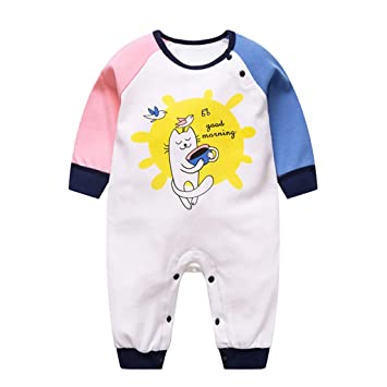 GudeHome Reci/én nacido Beb/és chicas Chicos del verano de manga corta de algod/ón mameluco Equipo infantil de dibujos animados Sleepsuit,0-3 meses