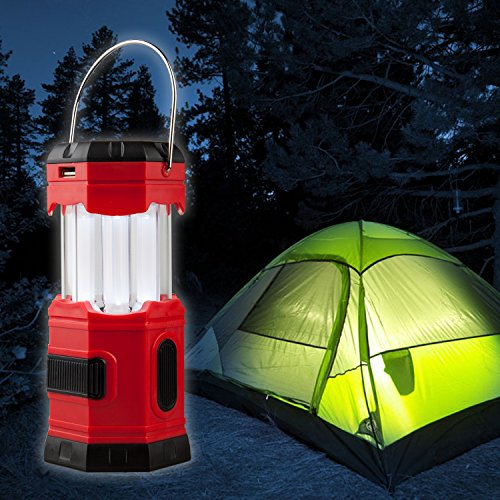 【4 PACK】TANSOREN Solar USB Rechargeable or 3 AA Power Supply LED Camping Lantern Flashlight with DC Charging Line and''S'', Survival Light for Camping, Hiking, Reading, Hurricane, Power Outage by TANSOREN (Image #6)