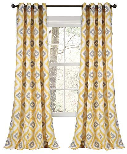 Lush Decor Room Darkening Window Curtain Panel Set, 0, Yellow/Gray (Gray And Yellow Drapes)