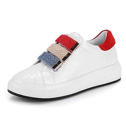 Zapatillas de Plataforma Planas para Mujer Zapatillas de Punta Redonda con Velcro Zapatillas Escolares Zapatos cómodos Blanco Negro: Amazon.es: Zapatos y ...