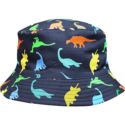 [Toddler's Jurassic Dinosaurs Crushable Wide Brim Summer Sun Beach Bucket Hat (3-6 Years, Dark Navy)] (Dinosaur Hats)