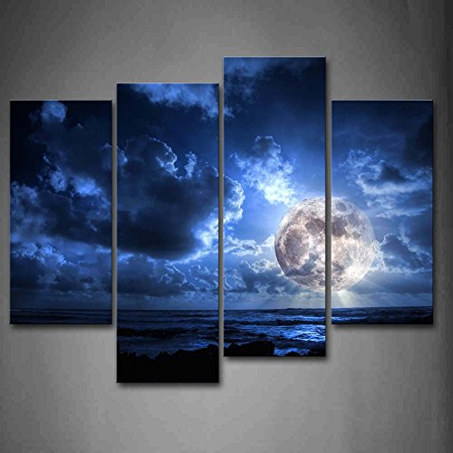 Framed Blue Moon Dark Cloud Sky Modern Canvas Prints