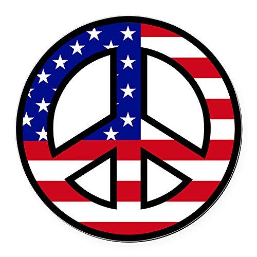 - CafePress - Peace Sign Flag Car Magnet - Round Car Magnet, Magnetic Bumper Sticker