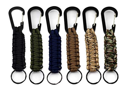 Morange Qtopun Paracord Keychain Carabiner, Set of 6 Outdoor Activity Survival Kit Braided Lanyard Utility Ring Hook for Keys Knife Flashlight -
