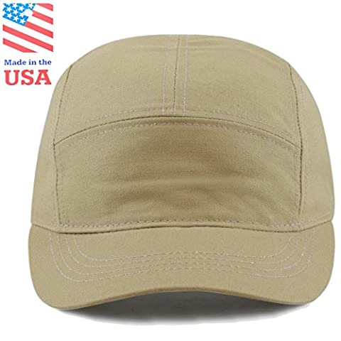 The Hat Depot Exclusive Made in USA Cotton 5 Panel Unstructured Outdoor Cap (Khaki) - Cotton Tennis Hat