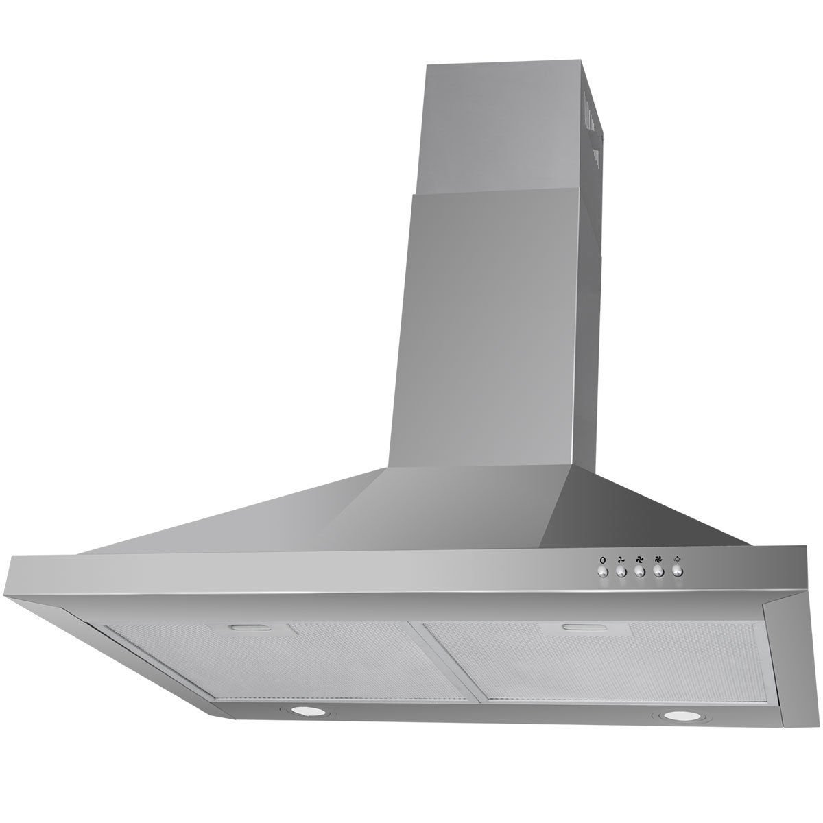 Costway 30'' Wall Mount Stainless Steel Push Control Kitchen Range Hood Vent Fan w/ Led Light