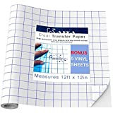 Kassa Clear Transfer Paper Tape for Vinyl (12 Ft x 12 in Roll) Apply Permanent or Glitter Vinyl Easily - Aligns Perfectly with Cricut or Silhouette Cameo - FREE 5 Black Vinyl Sheets