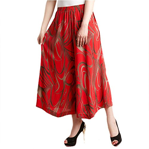 NJunicorn Uncle Womens Comfy Elastic Waist Cotton&Linen Floral Culottes Wide Leg Pants Christmas or Thanksgiving Gifts