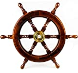 Premium Nautical Handcrafted Wooden Ship Wheel | Pirate's Wall Home Decor & Gifts | Nagina International (36 Inches, Dark Rosewood)