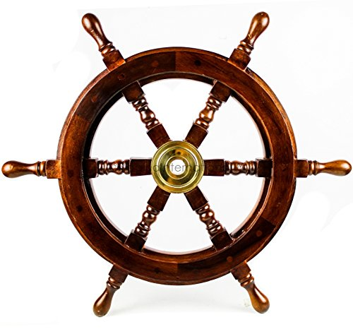 Nagina International Premium Nautical Handcrafted Wooden Ship Wheel | Pirate's Wall Home Decor & Gifts (24 Inches, Dark Rosewood)]()