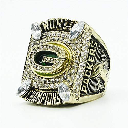 Men Diamond 2010 Green Bay Packers Championship Ring Men's Women's Rings with Jewelry Box, Size -