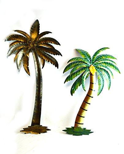 "Beautiful 37"" Metal Set of 2 Palm Tree with Coconuts Tropical Island Wall Art"