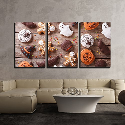 wall26 - 3 Piece Canvas Wall Art - Festive Gingerbread Halloween on The Table. Horizontal View from Above - Modern Home Decor Stretched and Framed Ready to Hang - 24