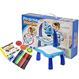 Y&M Kid drawing pad ,Kids Drawing Projector 24 different patterns Colors Drawing Screens Erasable Doodle Sketch Magna Board for Writing Educational Learning and Classroom Prizes-Blue desk