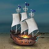 Cheap Exhart Neverland Jolly Roger Pirate Ship, Resin, Garden Statue/Figurine, Solar Powered, 7″ L x 12″ W x 14″ H