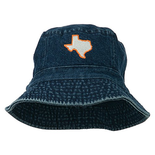 e4Hats.com Texas State Map Embroidered Bucket Hat - Denim -