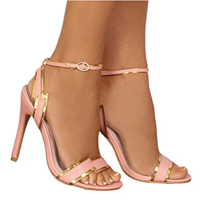 25c9bd9435ab Shoe Closet Ladies Baby Pink Gold Lightning Barely There Stilettos Strappy  Sandals High Heels UK7