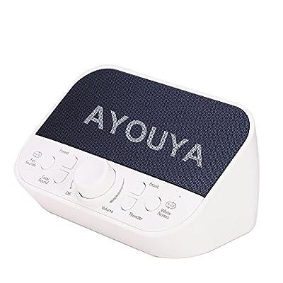 White Noise Machine, AYOUYA Sleep Sound Machine 28 Soothing Sound with 2×3W Speaker, 4 Sleep Timer, Adjustable Volume, Memory Function, Headphone Jack, for Light-Sleeper Traveler Baby