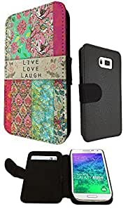 Shabby Chic Vintage Live Love Laugh Floral Roses Design Fashion Samsung Galaxy Alfa Book Style Purse Full Case Flip cover Defender Credit Card Holder Pouch Case Cover Book Wallet TPU Leather
