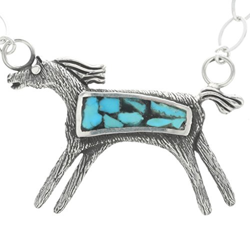 - Turquoise Silver Inlaid Horse Pendant Navajo Link Necklace 0624
