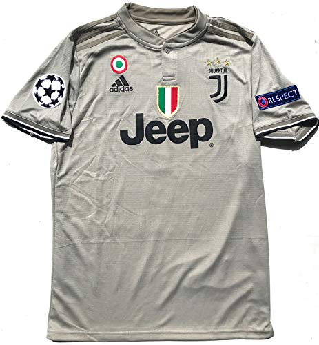 Juventus F.C. 2019 Home Soccer Jersey for Men with Ronaldo No. #7 on The Back and All Patches - Logos as Original (Beige 3rd Uniform, - Fc Shirt Original Barcelona