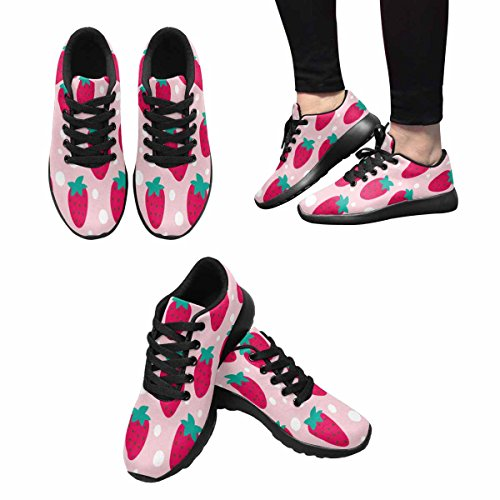 InterestPrint Womens Trail Running Shoes Jogging Lightweight Sports Walking Athletic Sneakers Strawberry Dot repeat Multi 1 YPkFQS