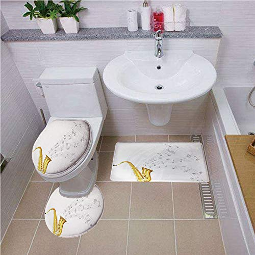 Bath mat set Round-Shaped Toilet Mat Area Rug Toilet Lid Covers 3PCS,Jazz Music Decor,Illustration of Wavy Music Tune from Saxophone Solo Party Beat Fun Art Home Decor,Golden White ,Bath mat set Round for $<!--$33.00-->