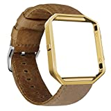 Compatible Fitbit Blaze Band with Frame, UMAXGET Genuine Leather Replacement Strap with Silver/Golden/Black Metal Frame Small Large
