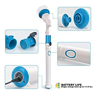 Electric Cordless Rechargeable Spin Scrubber with Extension Handle and 3 Replaceable Brushes For Cleaning Kitchen, Toilet, Walls, Floors, Tile, Bathtub, Bathroom, Windows