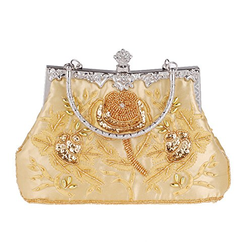 Clutch Dinner Bridal Vintage Bag Handbag Bag Cheongsam Banquet Gold Ladies Beaded Silk Bag Embroidered Bag Evening Chain qOwXAfT