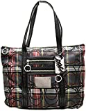 Coach Op Art Glam Poppy Tartan Plaid Navy Red Tote 14360