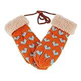 Damara Womens Knitted Heart Patterned Winter Halter Mitten,Orange