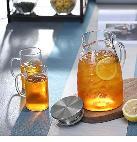 JIAQI 68 Ounces Glass Pitcher with Stainless Steel Lid, Hot/Cold Water Jug, Juice and Iced Tea Beverage Carafe by JIAQI (Image #3)