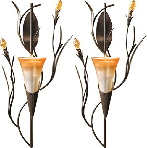 New Set of 2 Dawn Lily Wall Sconce Candle Holder Decor Home and Garden