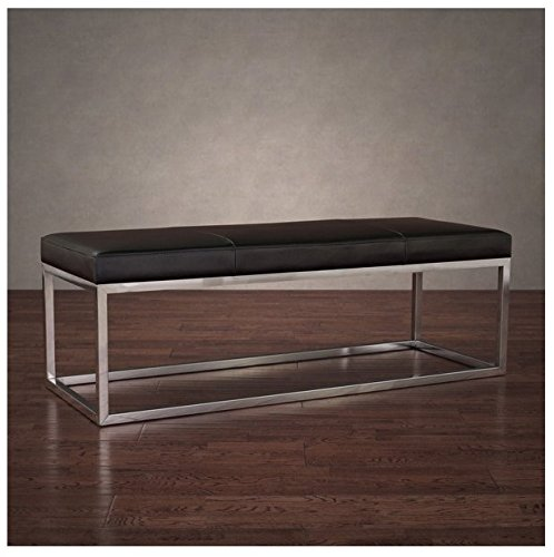 Upholstered Modern Stainless Steel Leather Bench ()