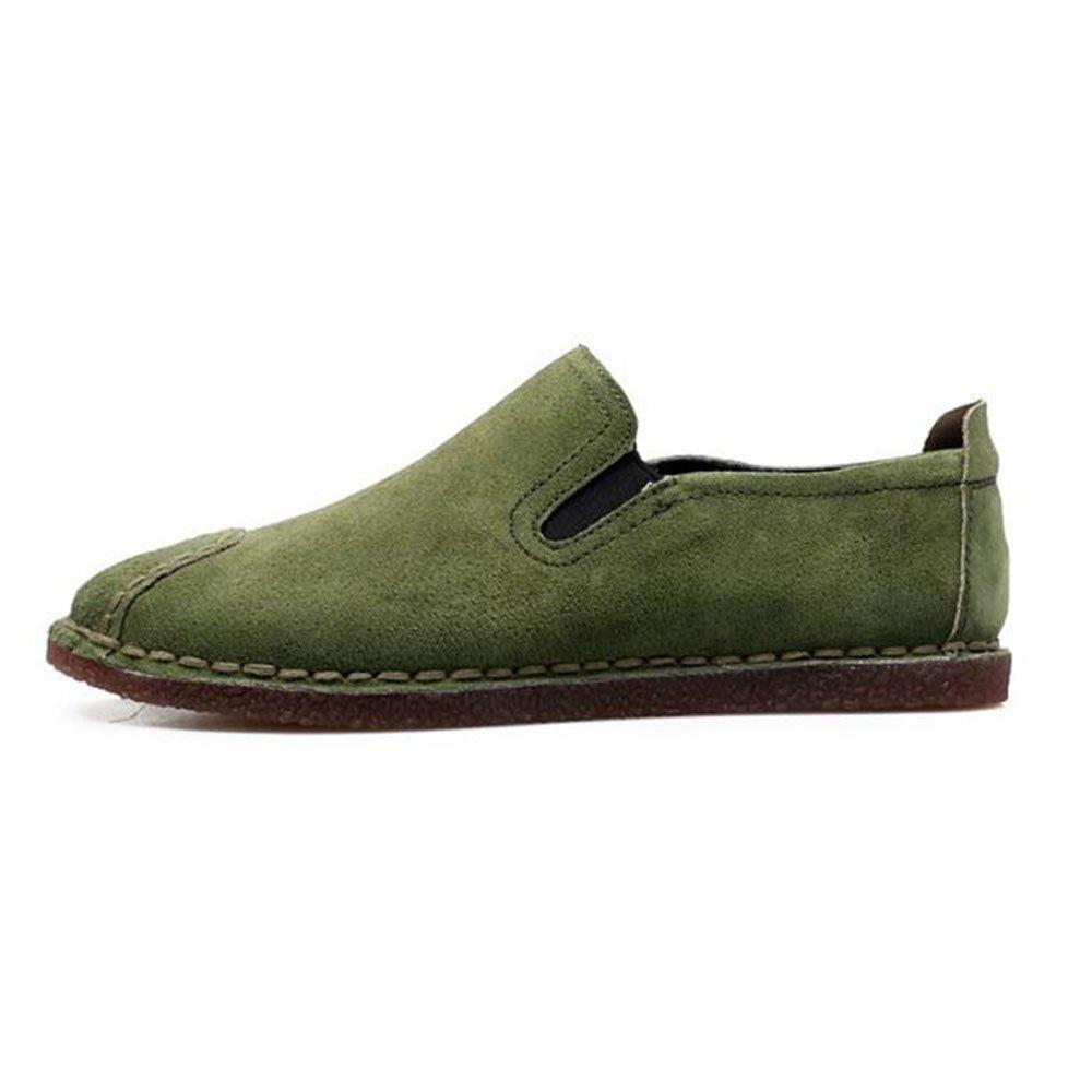 Mocasines para Caminar Zapatos Casuales de Cuero de Corte bajo para Hombres Zapatos de conducción Zapatos de Barco 38 2/3 EU|Verde