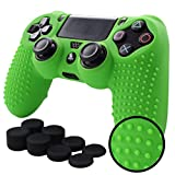 Pandaren STUDDED Anti-slip Silicone Cover Skin Set for Sony Playstation 4/PS4/PS4 Slim/PS4 Pro Controllers(Green controller skin x 1 + FPS PRO Thumb Grips x 8)