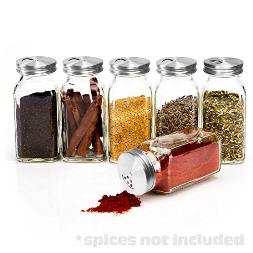SpiceLuxe 6 Large Square Glass Spice Bottles 6 oz Jars with Stainless Dispenser Tops (Flake 6 Ounce Jar)