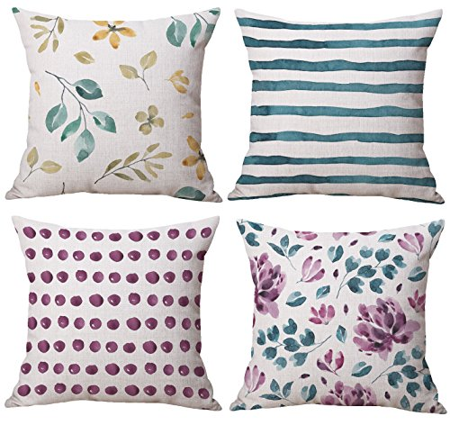 BLUETTEK Watercolor Floral Leaves Pillow Case Cover Set of 4 18 x 18 Inches Square Stripe Dot Couch Cushion ()