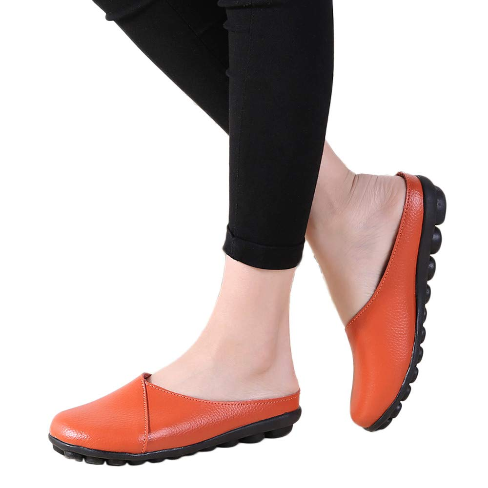 ▶HebeTop◄ Women's Rubber Sole Breathable Natural Walking Flat Loafer, Soft Bottom Shoes Orange