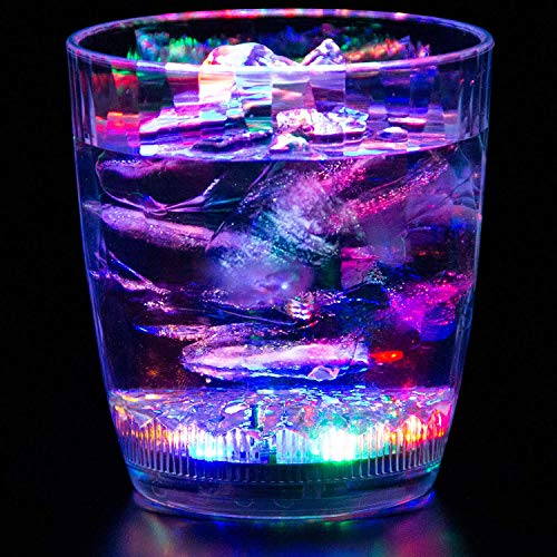 Liquid Activated Multicolor LED Lowball Glass ~ Fun Light Up Drinking Tumbler - 10.5 -