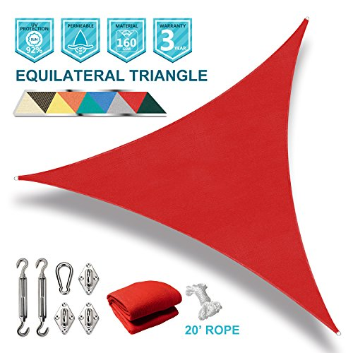 16' Snap (SoLGear 16' x 16' x 16' Triangle Red Sun Shade Sail with Stainless Steel Hardware Kit for Installation Turnbuckles Brackets Snap Hook Included Perfect for Patio Outdoor Garden)