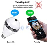 Camera Bulb VR Panoramic Bulb Camera with 360 Degree Fisheye Lens Wireless Wifi Panoramic Ip Camera hidden cameras for home Led Lights Bulb for Home Security System Camera Android IOS APP White