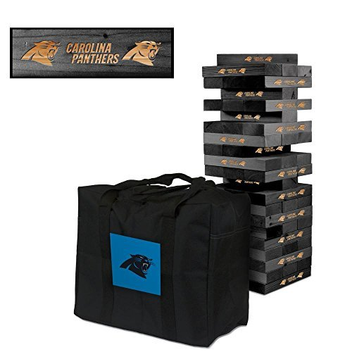 NFL Carolina Panthers NFL 858042Carolina Panthers NFL Onyx Stained Giant Wooden Tumble Tower Game, Multicolor, One - Blocks Nfl Wooden