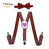 Xiacai We Love Sharks Suspender&Bow Tie Set Adjustable Clip-On Y-Suspender Kids