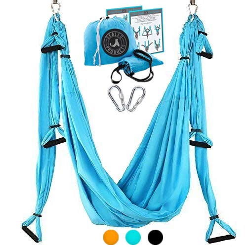 Sealed Products Aerial Yoga Swing – Premium Yoga Trapeze Set for Aerial Yoga Hammock Activities – Swing for Balance Flexibility and Back Pain Relief