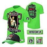 WWE John Cena T-shirt , Cap , Sweatbands strong Wristbands 5 Piece Set Wrist RAW (S, GREEN)