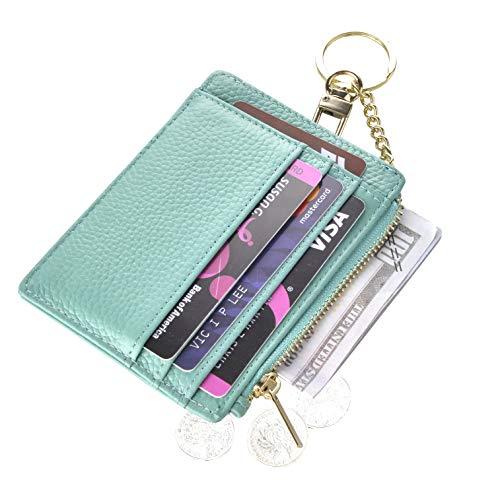 Womens Slim RFID Credit Card Holder Mini Front Pocket Wallet Coin Purse Keychain (LicheeTeal) (Best Female Wallet Brand)